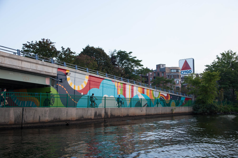 """Artist Silvia Lopez Chavez's colorful """"Patterned Behavior"""" mural on the Esplanade was produced as a part of Now + There's """"Year of the Woman"""" programming in 2017."""