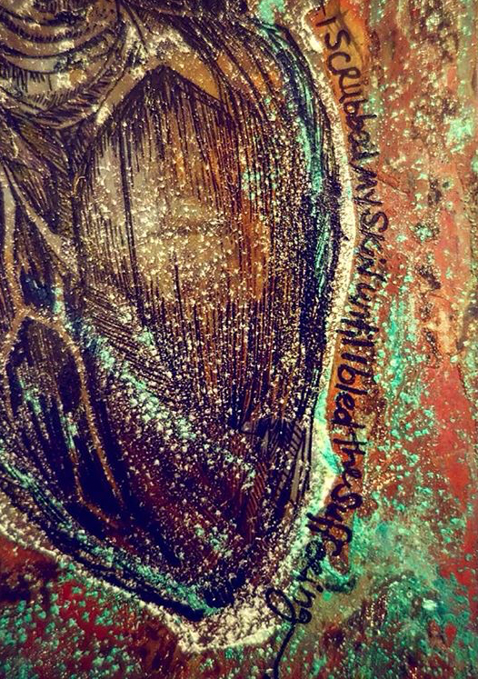 Detail of Heart Collaboration on Copper - Sold Piece from Show at Arlo Hotel to benefit Puerto Rico