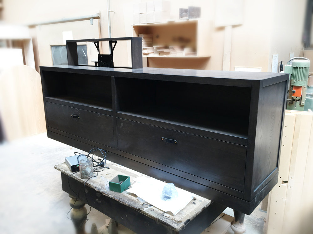 Arrowtown Mica Ridge Project  Tréology Bespoke Cabinet with concealed electric lifter for TV