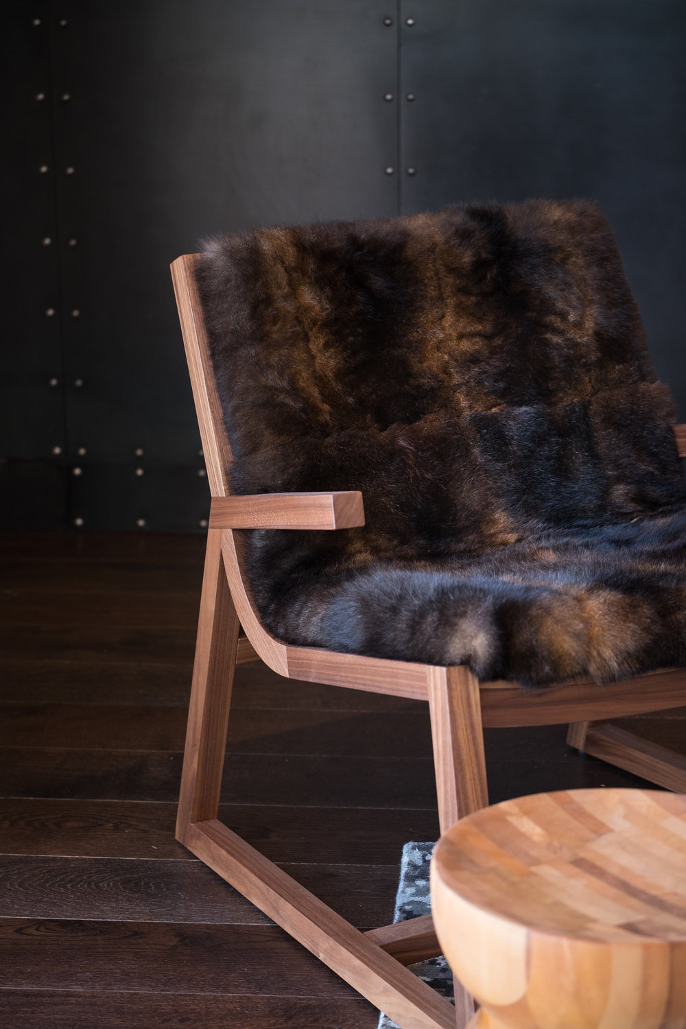 Umber Chair Walnut, oil finish Possum throw