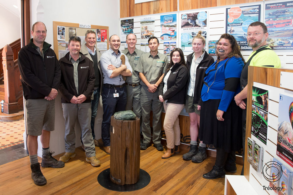 Andrew Davies (third from the left) with Doc staff at the ceremony for the arrival of the Pounamu at the i-site visitor centre.