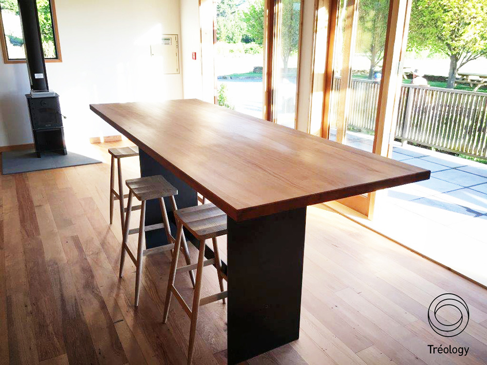 Tasting Table    - River rescued rimu   ,    aged steel