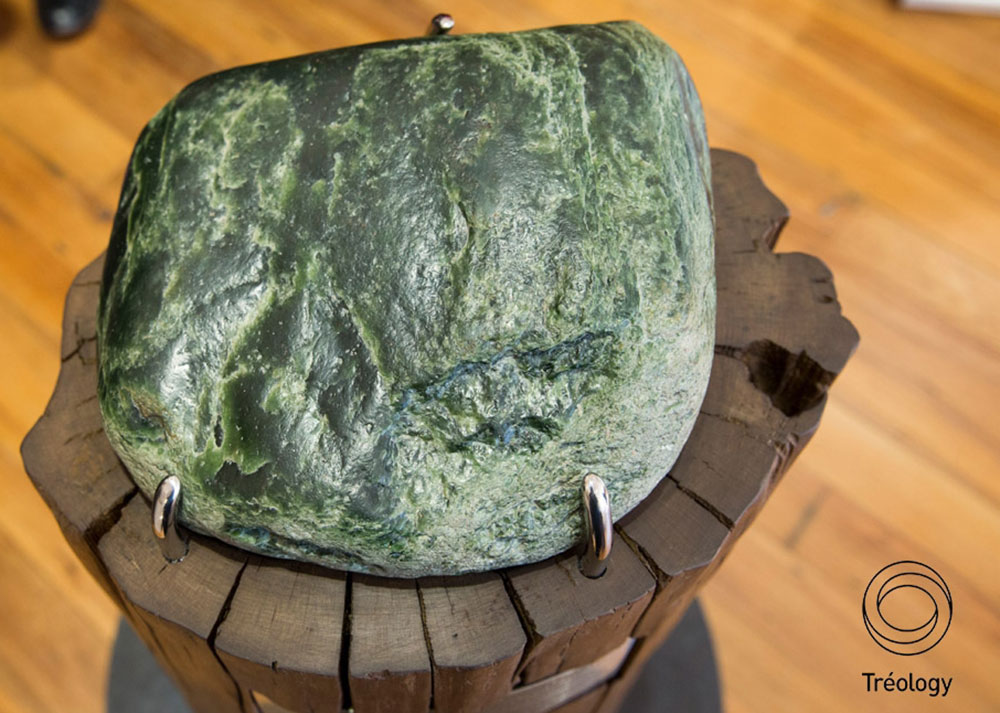 Pounamu greenstone on NZ made pedestal designed by Treology at the DOC isite in Christchurch