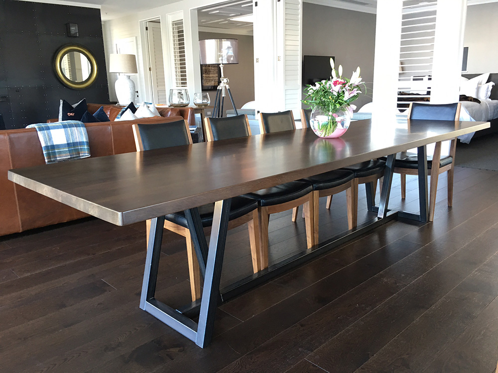 Umber Dining Table    -       River rescued rimu   ,    blackened steel
