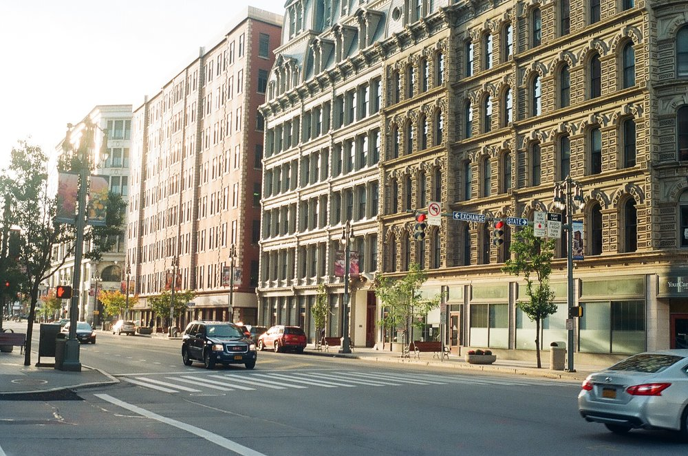 Corner of Exchange Blvd., Main St., and State St., Rochester, NY
