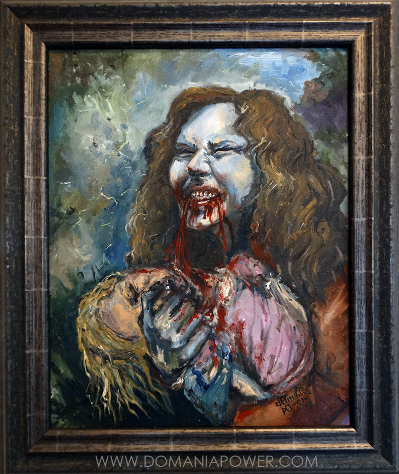 I burned most of my older works. This Zombie Janis is one of the very few survivors.