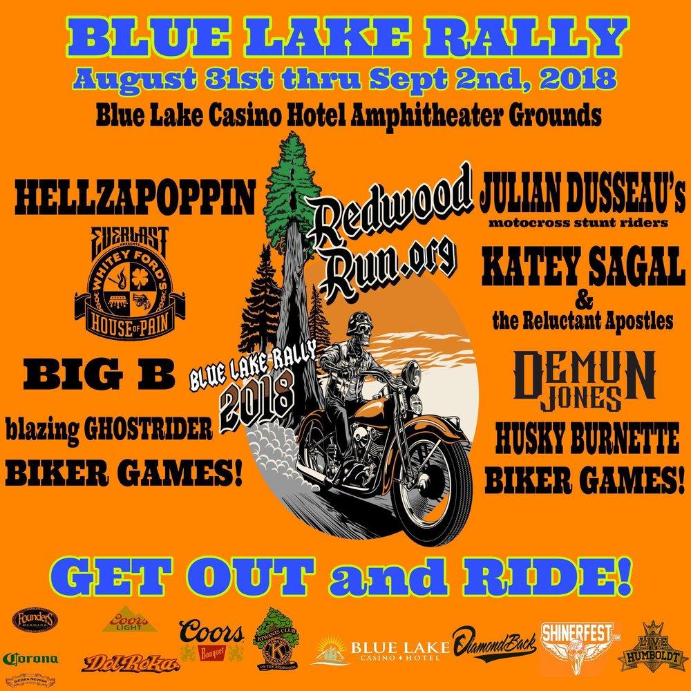 2018        REDWOOD       RUN          AUG 31-       SEPT 2ND  Blue Lake Casino & Hotel  Amphitheater     Grounds  -