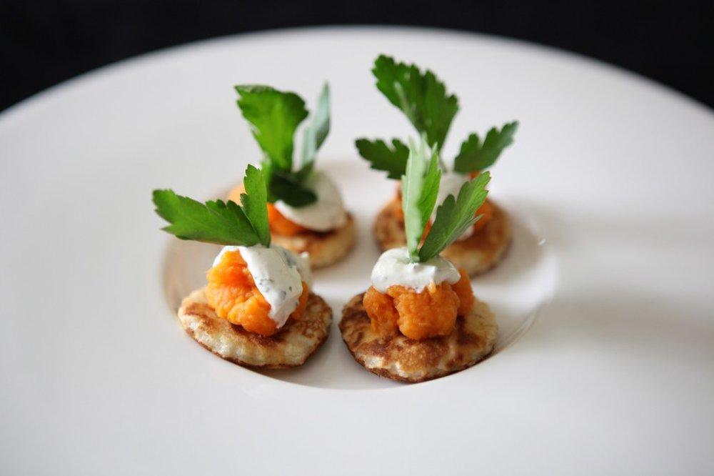 HomeiraStyle Sweet Potato Blinis Goat Cheese