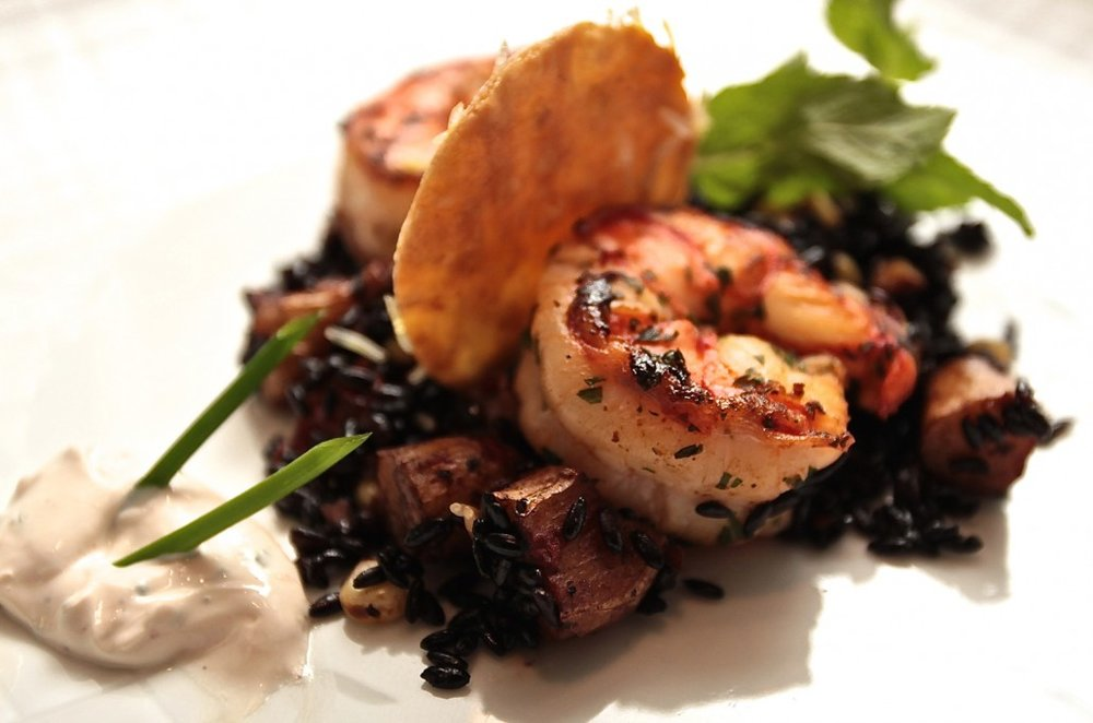 Sautéed Jumbo Tiger Shrimp with Chinese Black Forbidden Rice  & Roasted Fingerling Potatoes