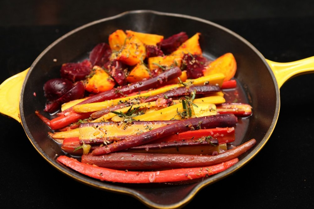 Roasted Beets & Carrots with Cranberries, Red Wine Vinegar  & Orange Juice