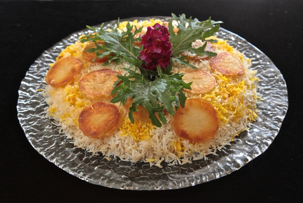5 Easy Step - Fluffy Flakey Downside Up Saffron-Basmati Rice with Crispy Potatoes
