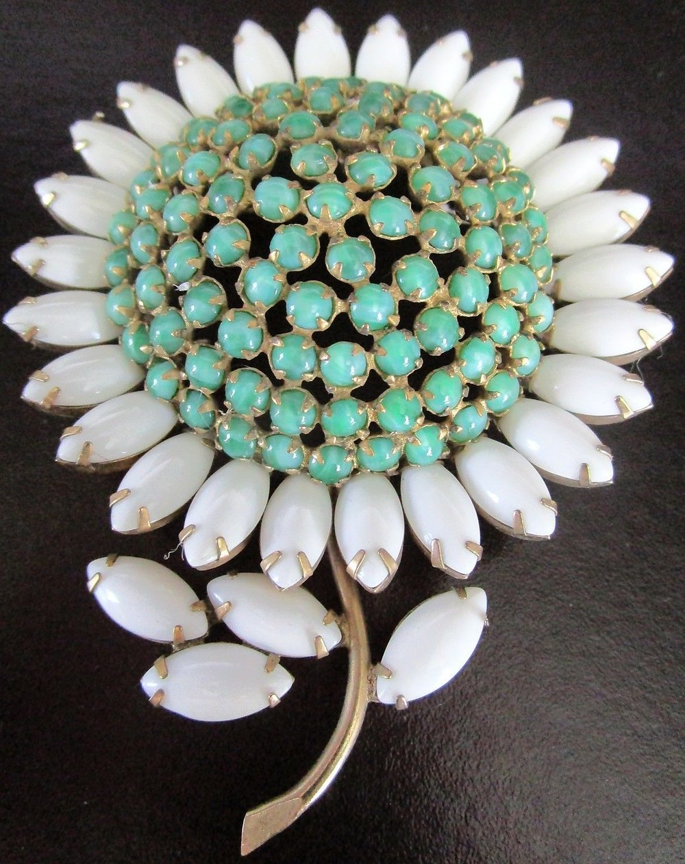 SCHREINER Massive Green & White Glass Cabochon Flower Vintage Pin