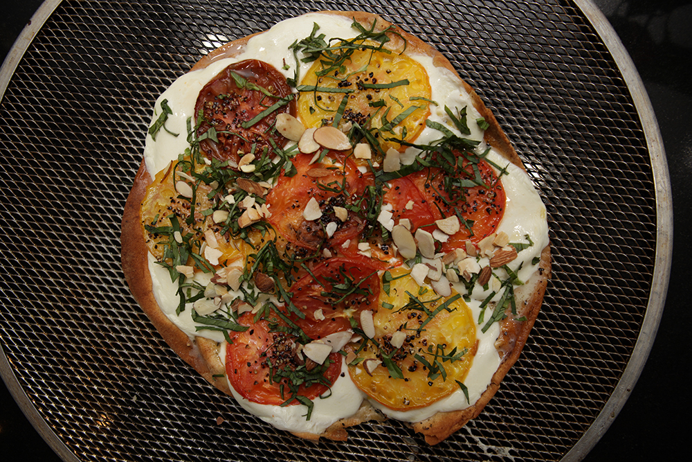 Pita Bread Pizza • Fresh mozzarella cheese & Tomatoes