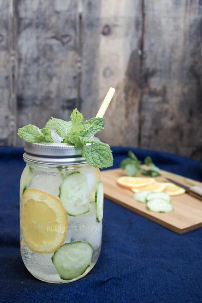 mason jar, cutting board, cooking utensil, & ingredients