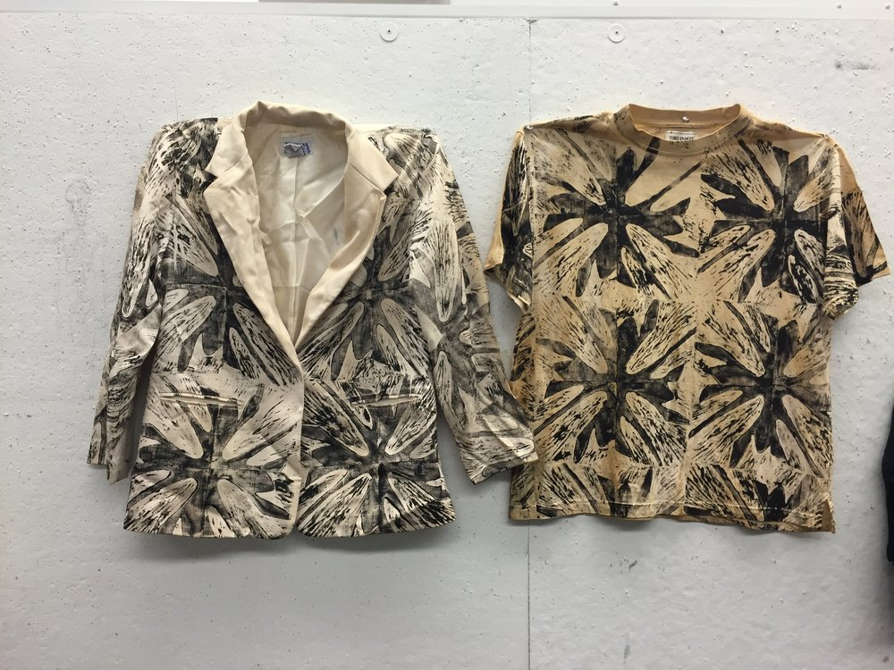 Two garments from the line printed by Audrey Eyman