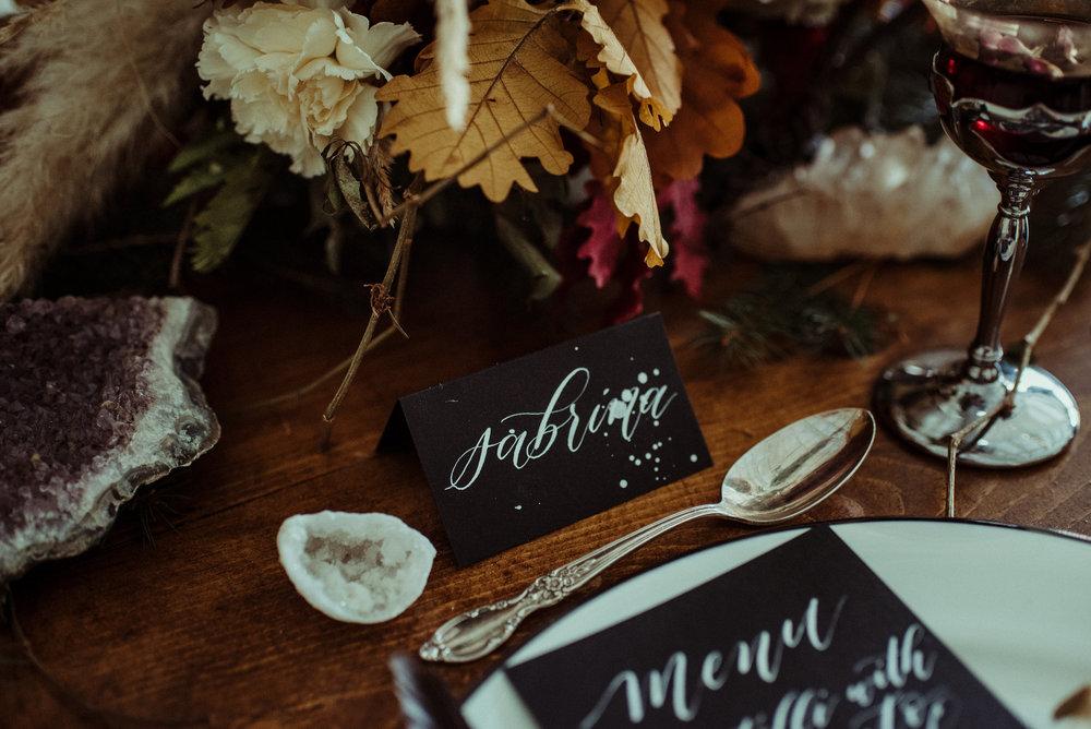 Closeup of Calligraphy Place Card