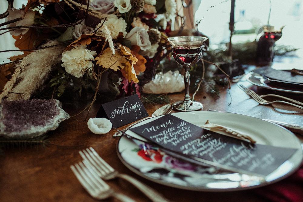Closeup of Wedding Menu & Place Card