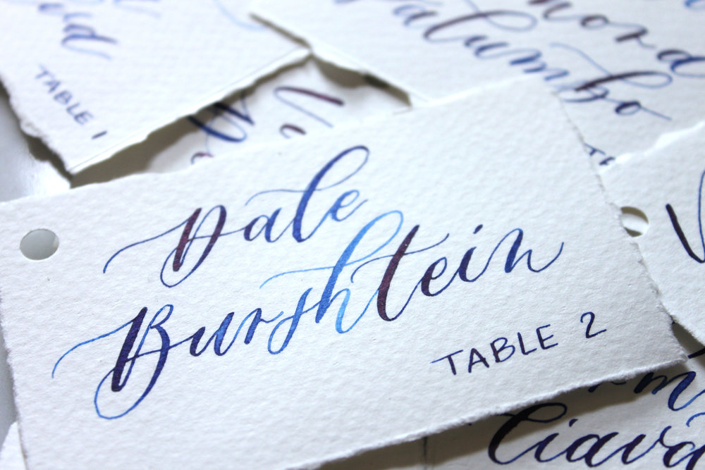 Calligraphy Escort Cards/Place Cards, Montreal, Blue Ink on Textured Paper