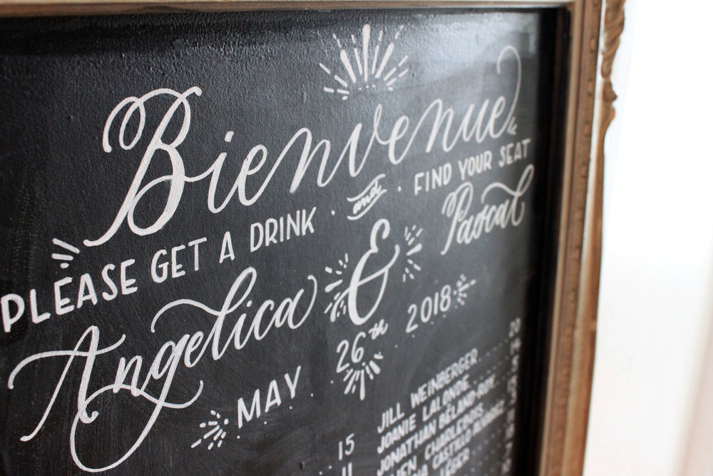 Montreal Chalkboard Wedding Seating Chart at The Cardinal Tea Room
