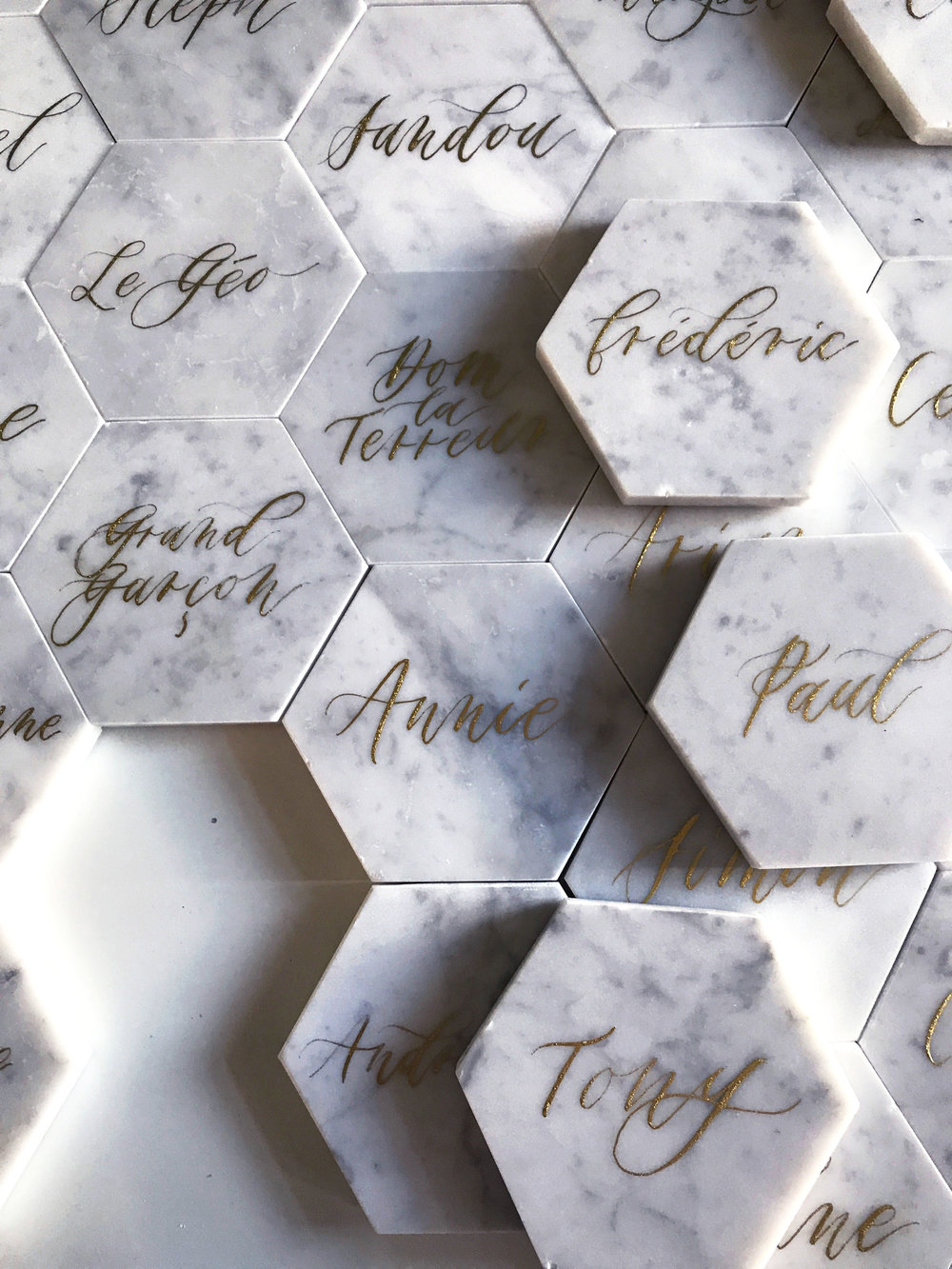 Montreal Place Cards, Escort Cards on Marble - Marques Place sur Marbre