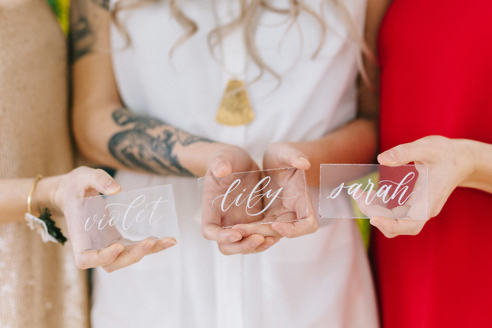 White Ink on Acrylic Place Cards