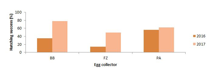 Figure 7. Egg Collectors 2016 and 2017 hatching success (%). BB - Batu Batu; Fz - Fazali; PA - Pak Ali.