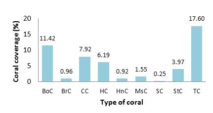 Figure        SEQ Figure \* ARABIC     10. Junior's Reef coral coverage and composition (%). BoC - boulder coral; BrC - brain coral; CC - cabbage coral; HC - hard coral general; HnC - honneycomb coral; MsC - mushroom coral; SC - soft coral; StC - Staghorn coral; TC - table coral.