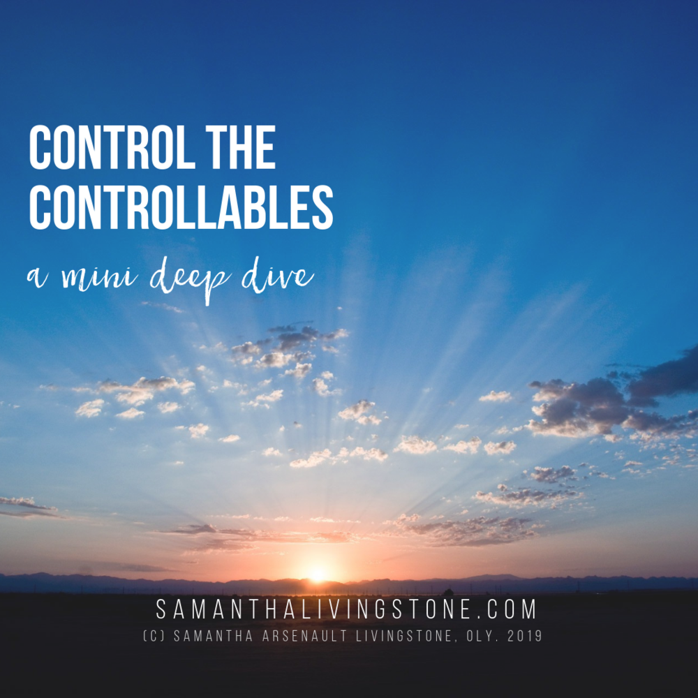 control the controllables - A Mini Deep Dive bySamantha Arsenault Livingstone, OLY.