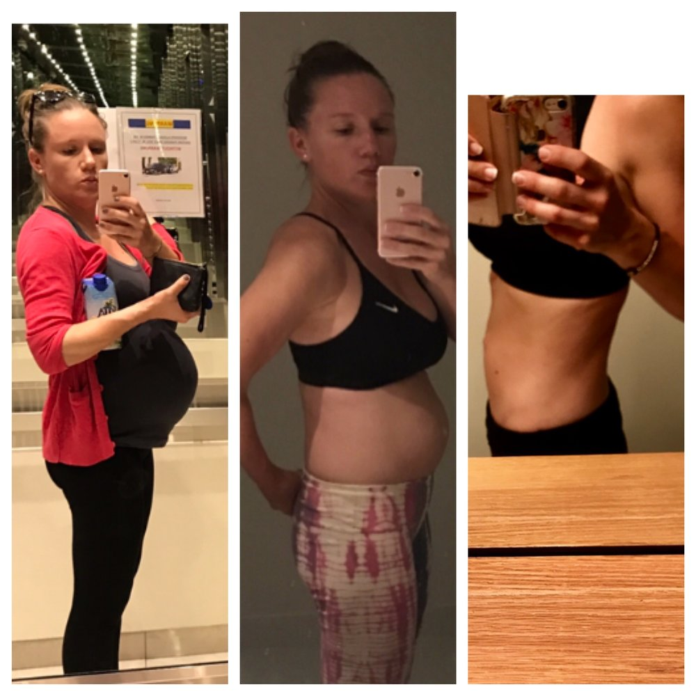 My weight loss journey: 1. 36-ish weeks pregnant, 2. 5 months postpartum, pre-intensive workout program 3. 2 months after I weaned, workout and eating plan in full swing.