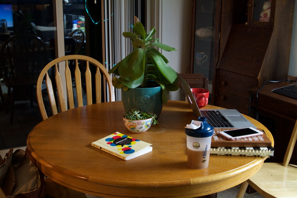 This is the same photo as above just shot in aperture f/3.5. This is my work area- nothing too exciting but not alot of blown out and washed out like it was with the Auto setting