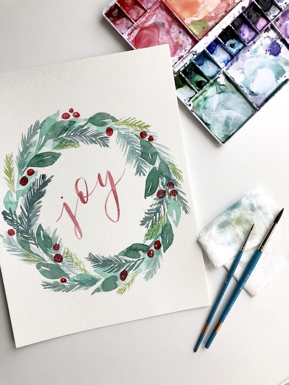 whimsical watercolor christmas wreath