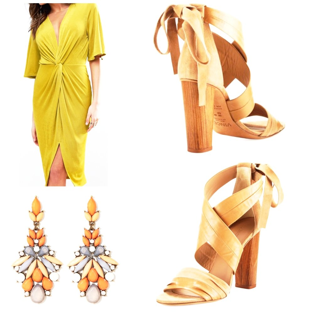 Vince Beatrice Wrap Sandal      Charming Charlie Earrings      Kimono Knot Front Dress