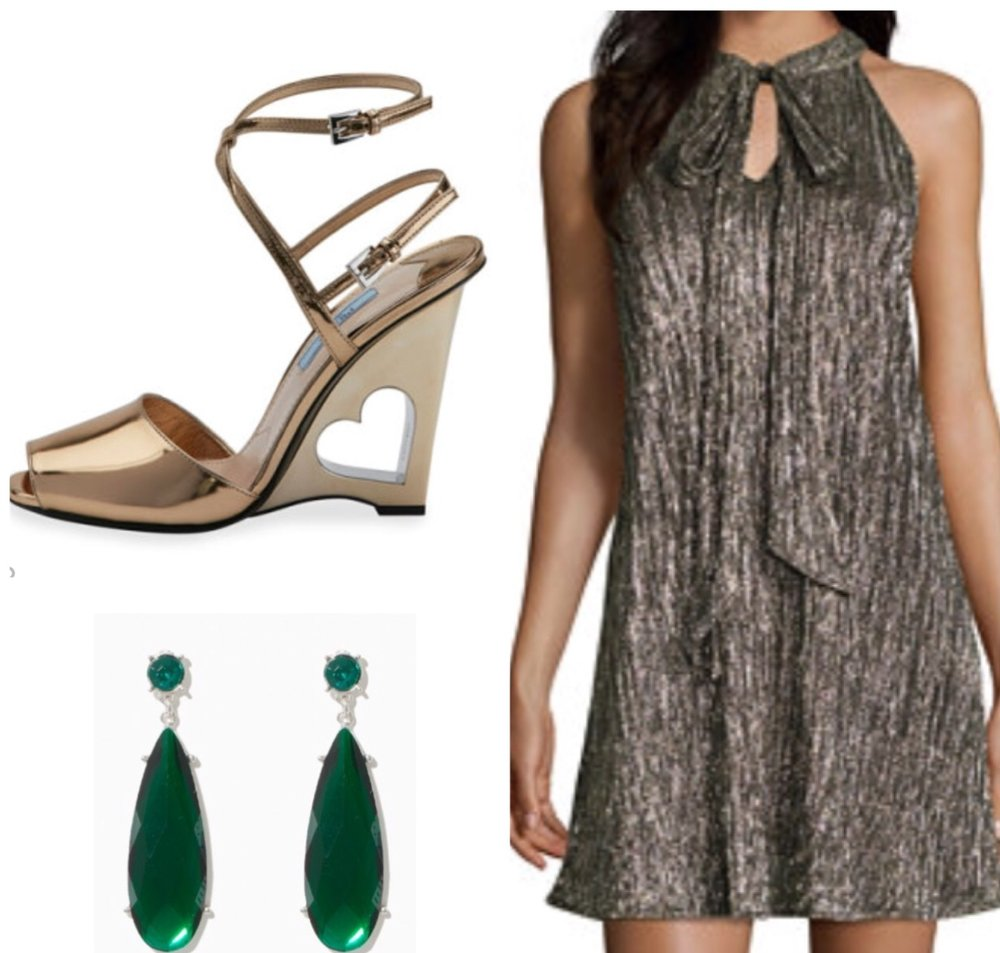 Sleeveless Dress      Teardrop Earrings      Prada Wedge Sandal