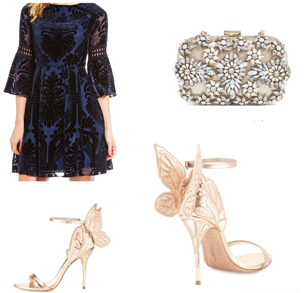 Floral Box Clutch      Blue Velvet Dress      Sophia Webster Sandal