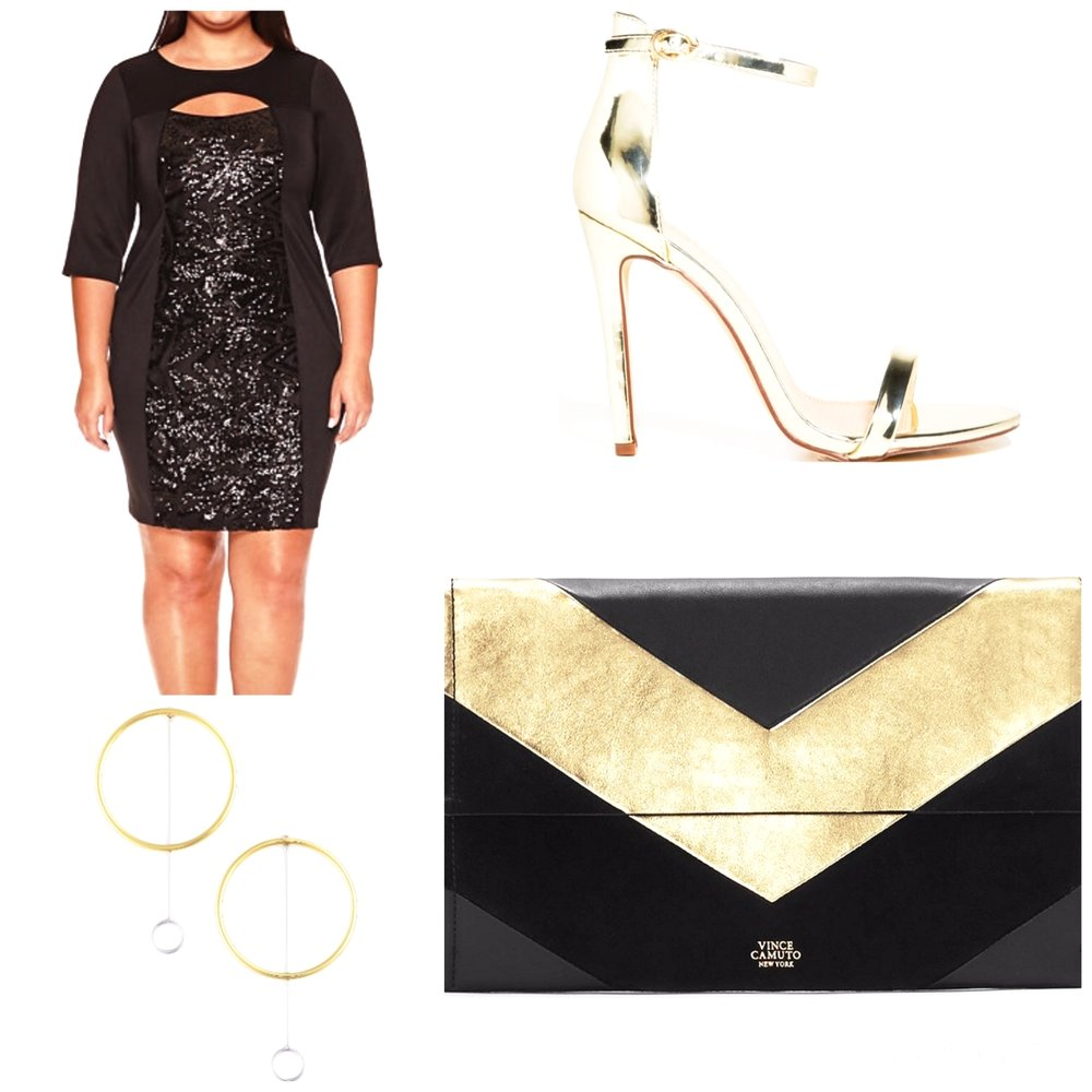 Bodycon Dress      Vince Camuto Clutch      Hoop Earrings