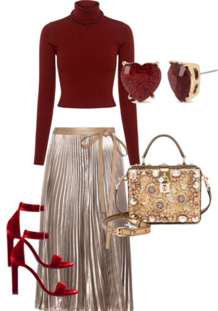 Cropped Sweater    Pleated Skirt    Velvet Sandals    Gold Embellished Bag    Heart Shaped Earrings