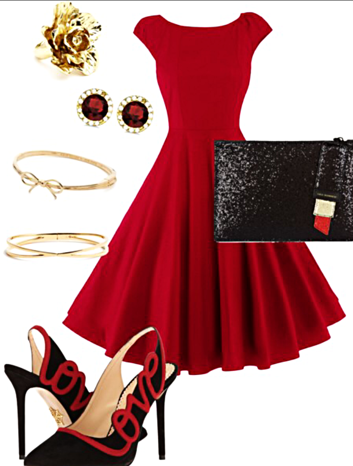 Red Dress    Love Heels    Lipstick Clutch    Earrings    Kate Spade Bangle    Gold Bangle