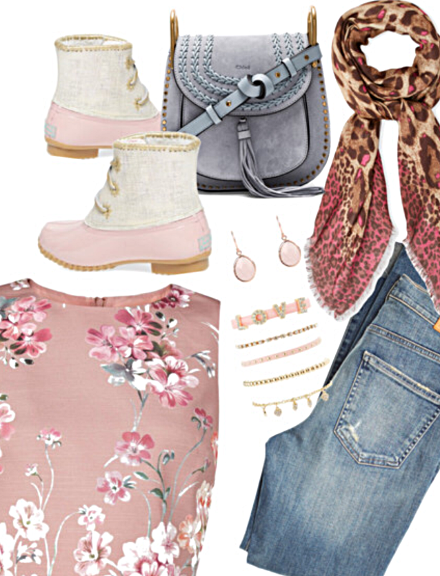 "Floral Top    High Rise Blue Jeans    Chloe Bag    Love Layering Bracelets    Rose Gold Earrings    Printed Scarf    Jack Rogers ""Chloe"" Rain Boots"