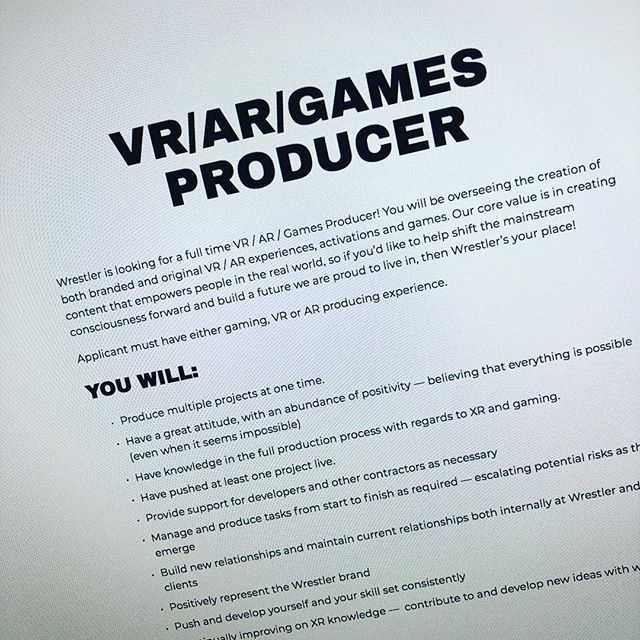 This just went up on the site. We're looking for an XR producer. Know anyone?