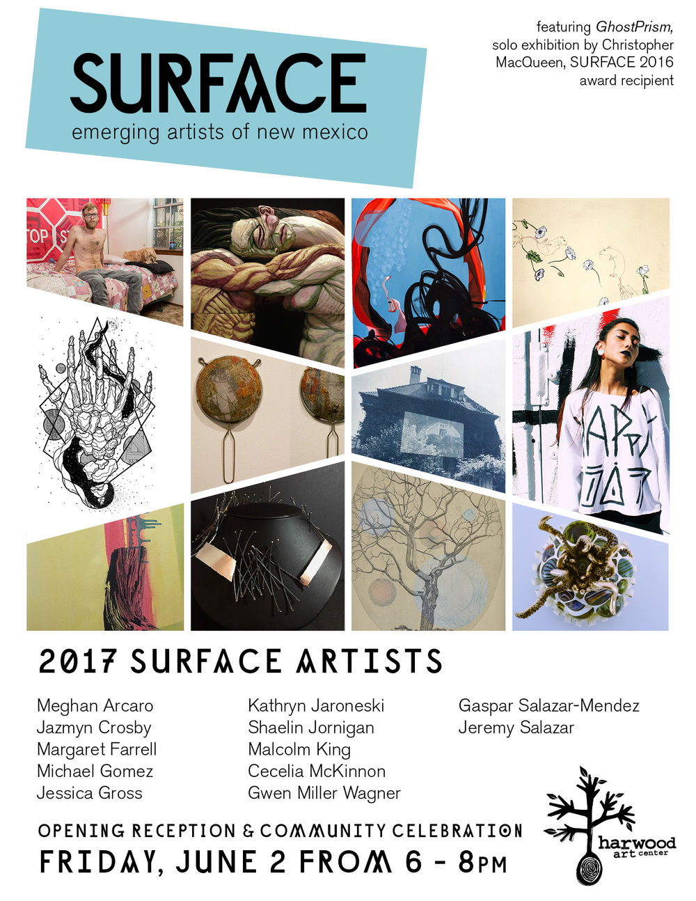 The SURFACE exhibition at the Harwood Art Center is an annual juried show. The how will be on exhibit till July 21st at 1114 7th St. NW, Albuquerque, NM 87102. Here's a link to an article about the show in the Alibi, a local news and events publication: http://alibi.com/art/53529/Surface-Currents.html