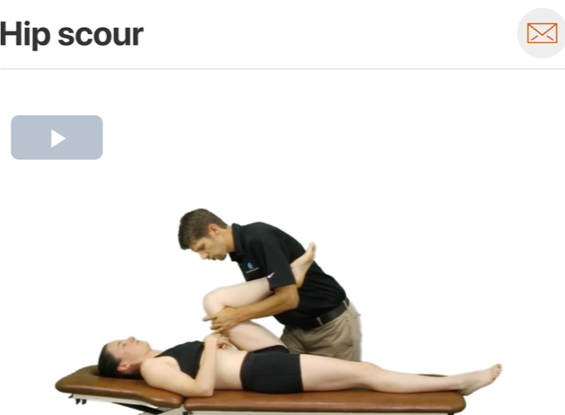 The hip scour test can be useful during assessment to help rule out potential labral tear or degeneration! ( Click image to watch 1-2 minute video )
