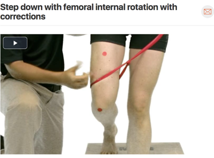 A common movement pattern seen in patients that suffer from piriformis syndrome is adduction and internal rotation of the femur. This movement can occur many times through the day going down stairs, squatting, sitting cross legged, or even sleeping on your side and allowing your knee to fall to the bed without putting a pillow between your legs. It is always important to watch how people move! ( Click image to watch 1-2 minute video )