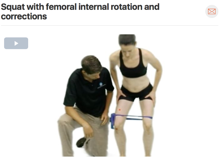 If you suspect patella femoral knee pain in your patient consider watching your patient squat and check for any  movement faults . Commonly you will see your patient's knees dive in (valgus), which we call the adduction/internal rotation movement fault. This movement puts more stress through the knee joint which overtime can cause anterior knee pain.