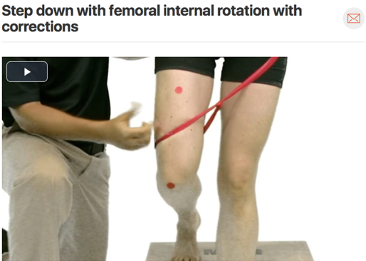 The  eccentric step down test  is a provocative test to attempt to bring on the patient's anterior knee pain. This test is great because it doubles as a movement analysis. Assess the patient for quality of movement as well as seeing if the movement brings on the patient's pain. (Click image to watch 1-2 minute video)