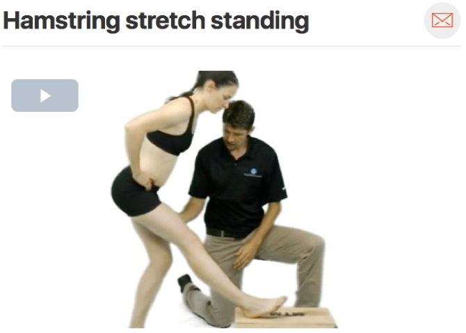It is important to choose a  home exercise  for your patient that matches the treatment given. In this instance, we chose to work on knee extension. The above stretch focuses on helping the patient gain full extension of the knee. Once full range of motion of the knee has been achieved it is important to work on strengthening and higher level activities. (Click image to watch 1-2 minute video)