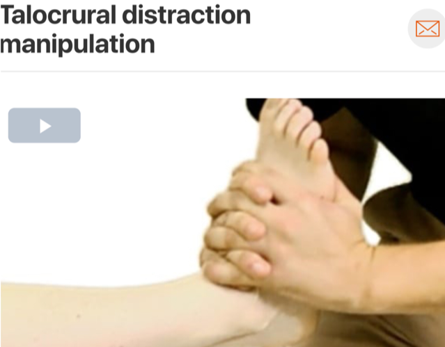 Often, lack of dorsiflexion range of motion can result in compensatory mechanisms through the midfoot contributing to irritation of the posterior tibialis tendon. A high-velocity low amplitude thrust to the  talocrural joint  can help improve this range of motion deficit! (Click image to watch 1-2 minute video)