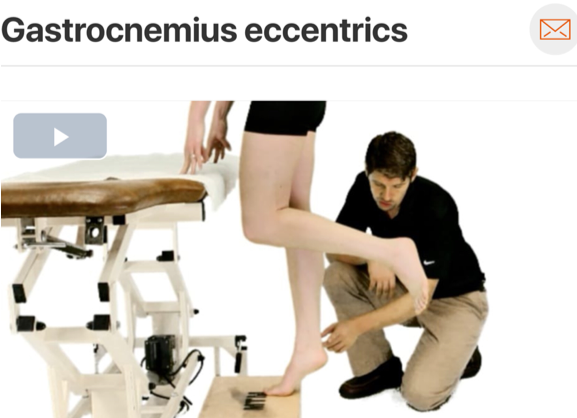 The  gastrocnemius  (also achilles tendon) is subject to the highest (eccentric) torque demand during gait, which is further increased while running! As other impairments are being addressed, you may want to consider improving eccentric loading capacity. (Click image to watch 1-2 minute video)
