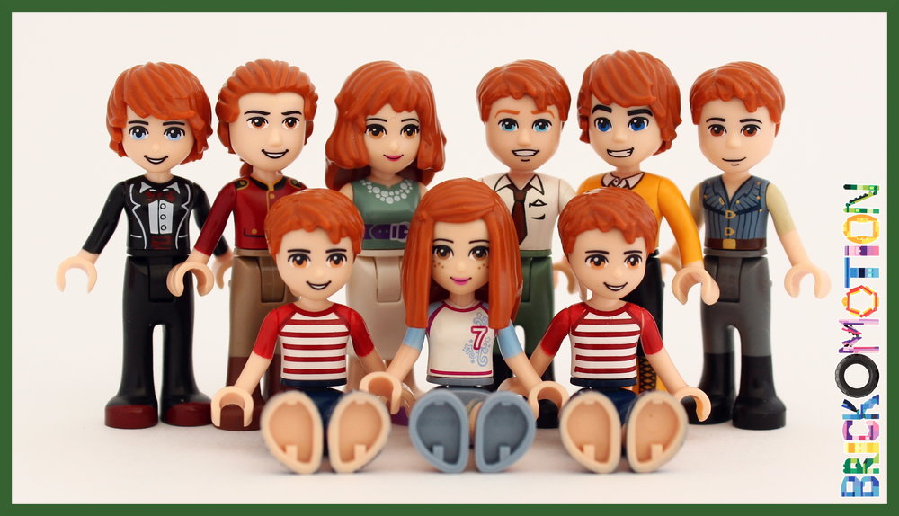 The whole Weasley family: Ron, Bill, Molly, Arthur, Charlie, Percie, Fred, Ginny, George