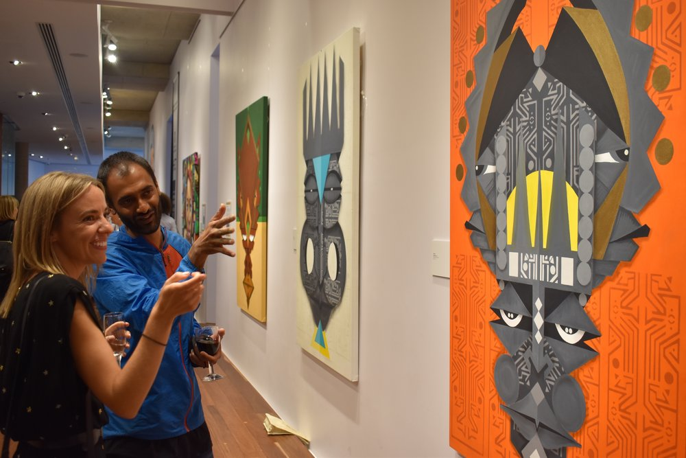 WiseTwo talks about his vibrant artwork at the Exhibition opening, Kerry Packer Civic Gallery