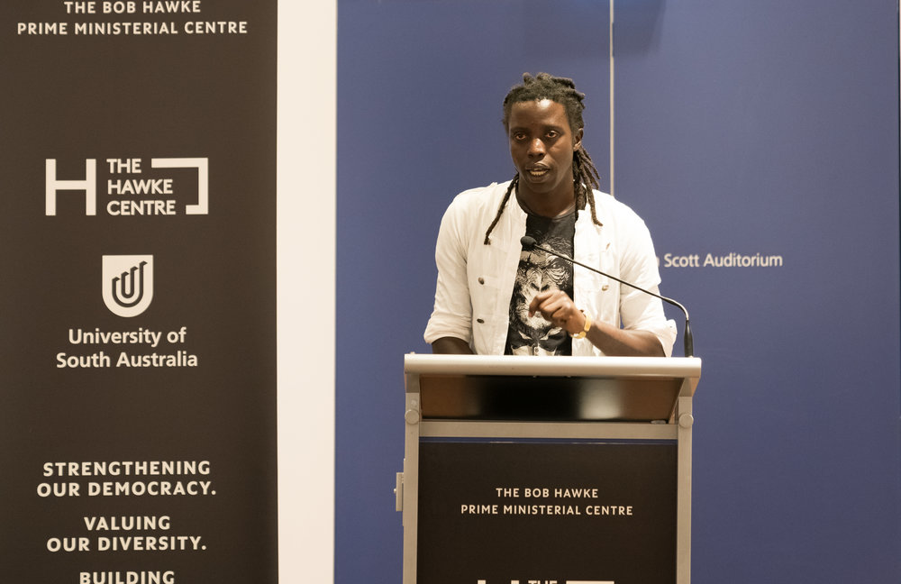 Kenyan Artist Onyis Martin speaks at Sanaa Exhibition Launch